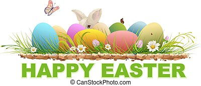 Happy easter. Painted egg, rabbit