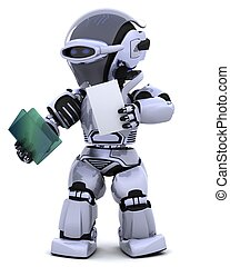 robot, documento, cartella