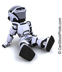 robot relaxing - 3D render of a robot sitting back and...