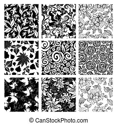 Set of nine seamless floral patterns - Vector set of nine...