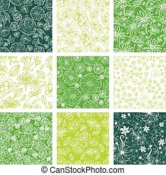 seamless floral patterns - Vector set of seamless floral...