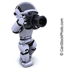 robot with DSLR Camera - 3D render of a robot with digital...