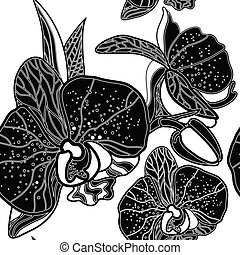 Vector seamless floral pattern, freehand drawing - orchid...