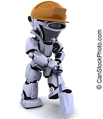 construction robot with spade - 3D render of a construction...