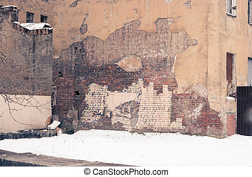 Old factory ruins. Abandoned building wall toned image. Colorized.