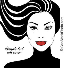 beautiful woman - Vector portrait of beautiful woman with...