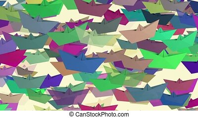 Paper boats in various colors