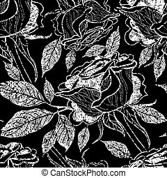Vector seamless floral pattern, freehand drawing - rose...