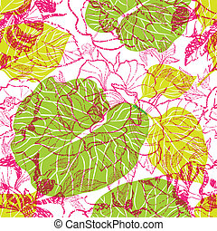 Vector seamless floral pattern, freehand drawing - flowers...