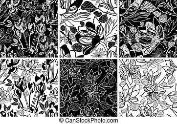 Vector seamless floral pattern - Vector seamless grunge...