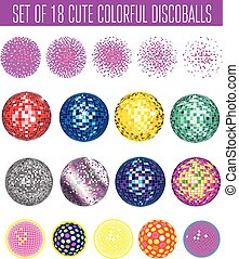discoball - Set of vector colorful icons - discoball