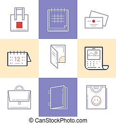 Flat line icons of Print design products Printing industry...