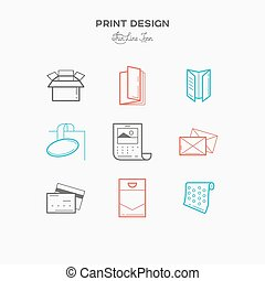 Flat line icons of Print design products. Printing industry...