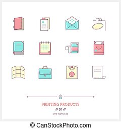 Color line icon set of printing objects elements Print...