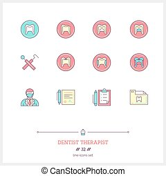 Color line icon set of dentist therapist objects, tools and...