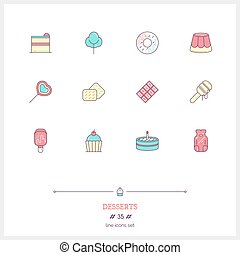 Color line icon set of candy an desserts objects. Logo icons vector illustration