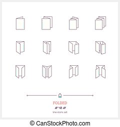 Color line icon set of Folded objects. Scoring scheme...