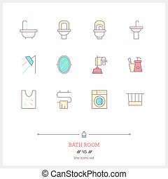 Color line icon set of bath room icons set. Shop furniture,...
