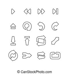Arrow and navigation line icons set Design icons set