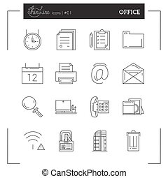 Office, job, universal and more thin line icons set, flat...