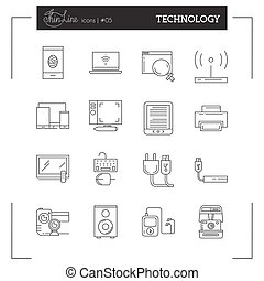 Technology, Electronics and more thin line icons set, flat design.