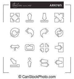 Arrows thin line icons set, flat design - Arrows thin line...