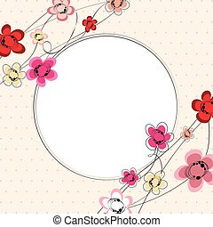 Floral background card frame