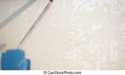 painting interior wall of home with paint roller