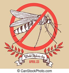 Malaria day poster in vintage style