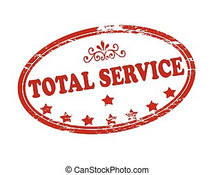 Total service - Rubber stamp with text total service inside,...