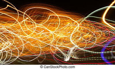 Chaotic lights in moriol blur - abstract photograph...