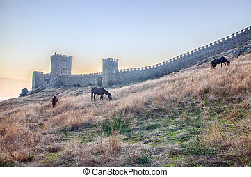View of Genoese medieval fortress in Sudak Crimea - The city...