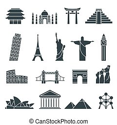 World landmarks icons, abstract set