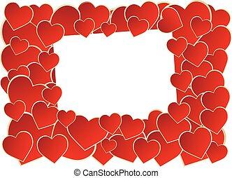 Frame of heart  - Red heart frame over white background