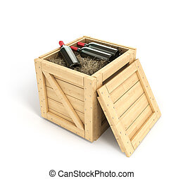 Open wooden box with bottles of wine inside isolated on...