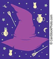 Purple Magical Hat Design Elements
