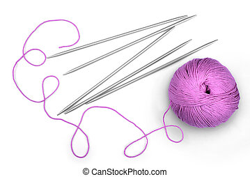 Pink yarn for knitting and spokes