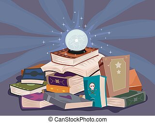Magic Spell Book Glowing Crystal Ball