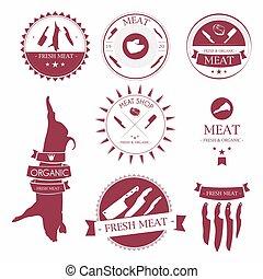 Set of meat shop labels and design elements