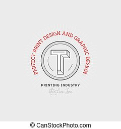 Printing industry Hand Drawn Logo Template. Vector Design...