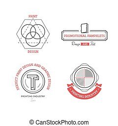 Printing industry Logos, Badges and Labels Design Elements...