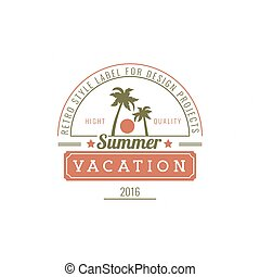 Vacation Hand Drawn Design Element in Vintage Style for Logotype, Label, Badge and other design.
