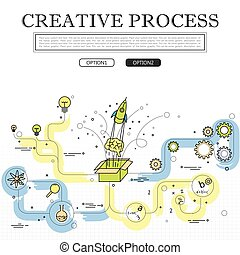 line drawing of concept of creative process vector graphic....