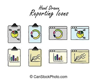 different hand drawn doodle graphs and charts - vector graphic