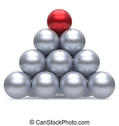 Hierarchy pyramid leader sphere ball corporation red top order