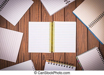 notepapers on wooden background