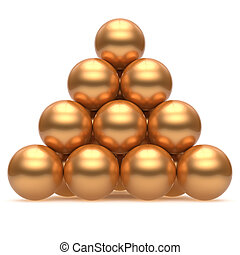 Sphere ball pyramid hierarchy corporation gold top order leader