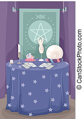 Fortune Teller Table Cards Crystal Ball - Illustration of a...