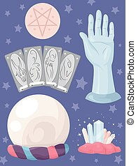 Fortune Telling Elements Group - Grouped Illustration...