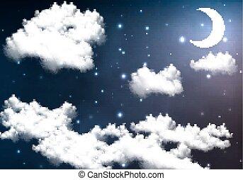 crescent moon illuminates the night - Half moon illuminates...